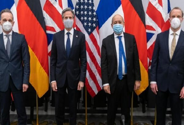 رایزنی وزرای خارجه آمریکا و تروئیکای اروپا درباره ایران، روسیه و چین خبرنگاران